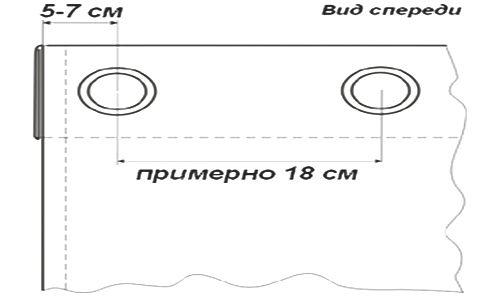 Схема установки люверсів на штори