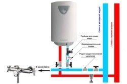 Схема монтажу труб і запірних кранів для водонагрівача