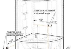 Схема підведення комунікацій до душовій кабінці