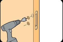 Свердління отвори для дверної ручки