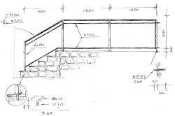 Приклад ескізу готових сходів з кованими поручнями