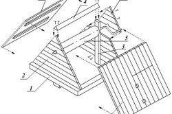Будиночок для колодязя - креслення. 1 - рама-підстава, 2 - фронтони, 3 - стійка, 4 - коник даху, 5 - воріт, 6 - обшивка фронтонів, 7, 8 - скати даху.