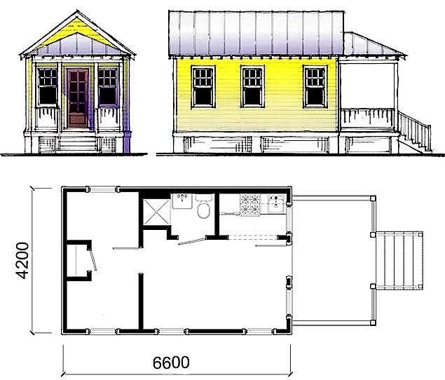 Схема дачного будиночка з невеликою терасою.