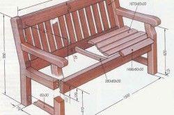 Схема деревяної лавки з розмірами