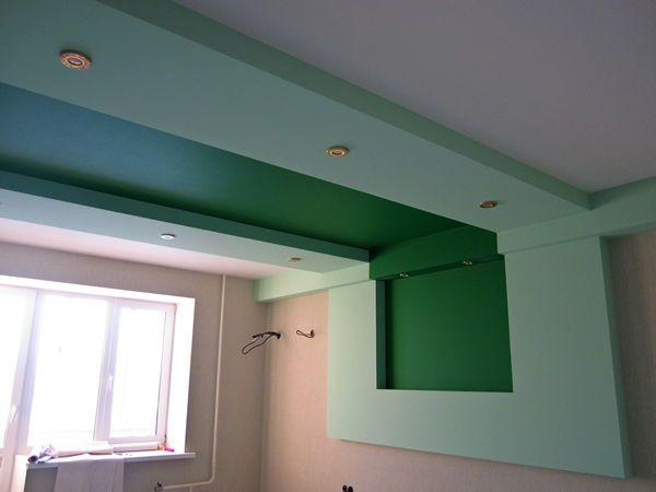 варіант короба з гіпсокартону на стелі