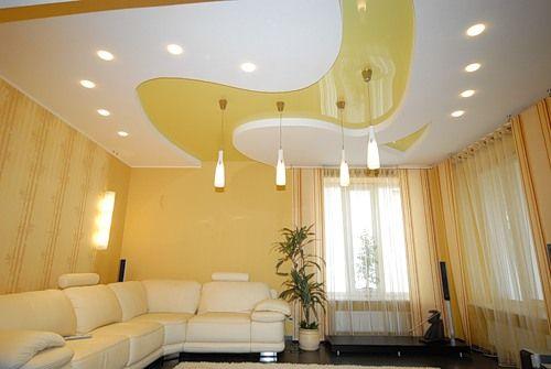Фото - Як зробити підвісну стелю з гіпсокартону в вітальні