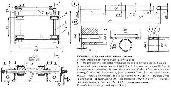 Схема столу для циркулярної пилки з механізмом підйому-опускання