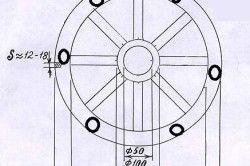 Схема виготовлення світильника з колеса воза