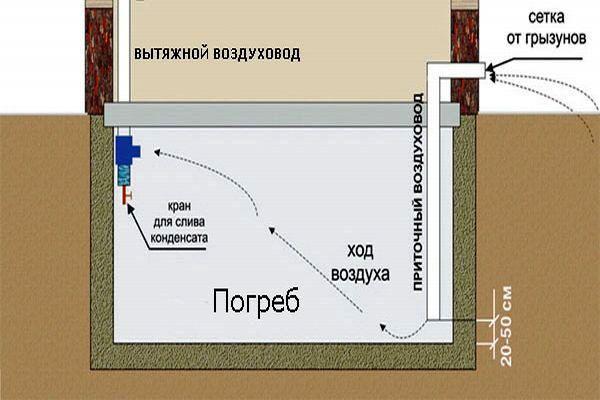 Схема вентиляції в підвалі.