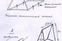 Схема кріплення садових гойдалок за допомогою металевих куточків.