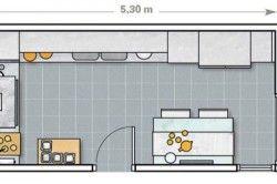 Схема зонування кухні в залежності від розмірів приміщення №1