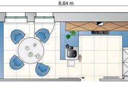 Схема зонування кухні в залежності від розмірів приміщення №2