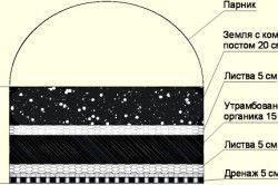 Орієнтовна схема укладання рослинних і органічних залишків при створенні теплої грядки для огірків