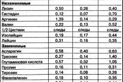 Таблиця складових гливи