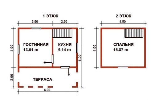 Схема проекту будинку з бруса з просторою терасою і мансардою, кухнею і вітальнею