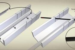 Схема для різання внутрішніх і зовнішніх кутів на стельовому плінтусі