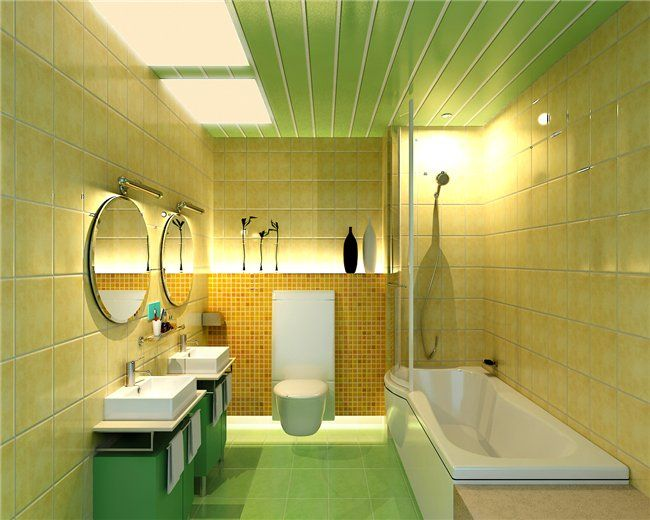 Пластикові панелі на стелі у ванній