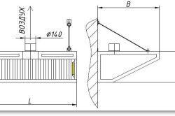 Схема металевого витяжного накриття для мангала.
