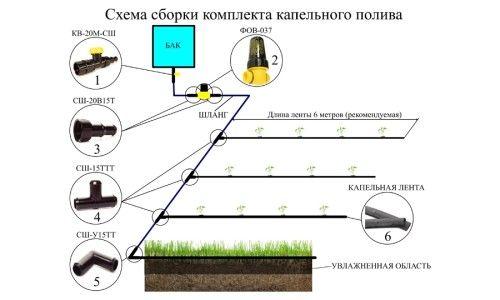 Схема збірки комплекту крапельного поливу