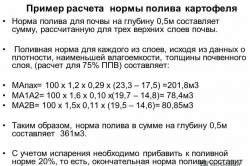 Приклад розрахунку норм поливу картоплі