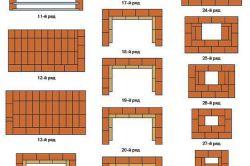Схема монтажу мангала з цегли по рядах