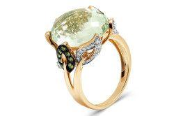 Золоте кільце з зеленим аметистом