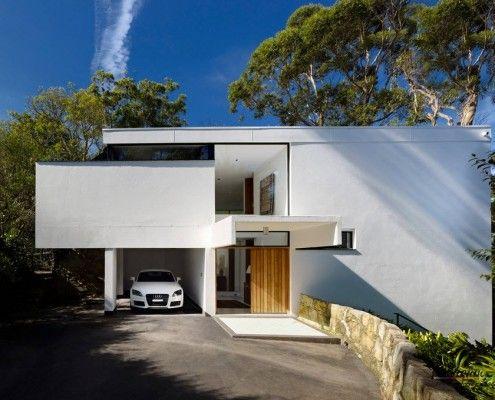 Будинок і гараж з плоским дахом
