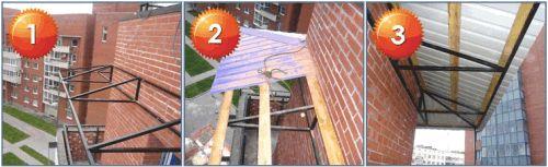 Схема опорної конструкції балкону даху