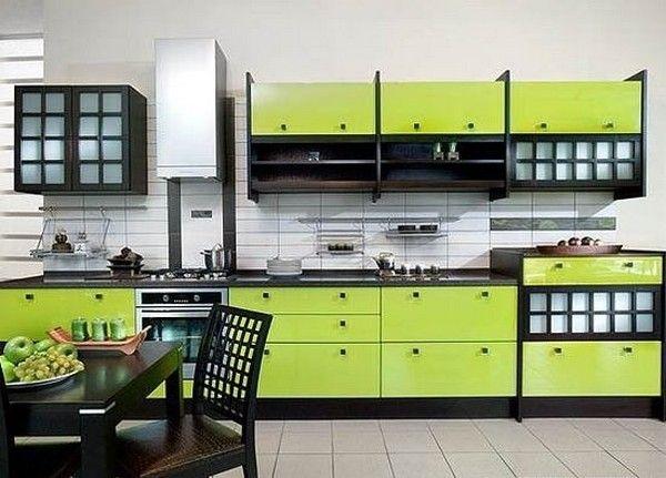Кухня зеленого кольору в японському стилі фото