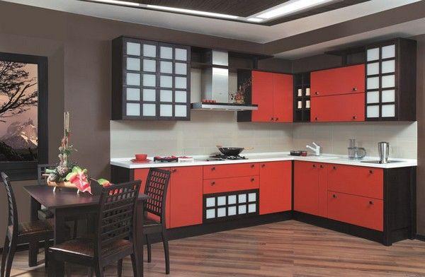 Червона кухня в японському стилі фото