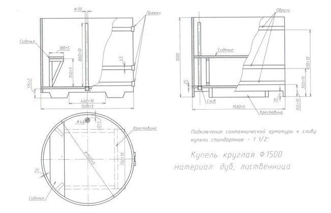 Креслення круглої купелі з модрини