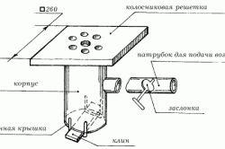 Конструкція чавунної колосникових грат для горна