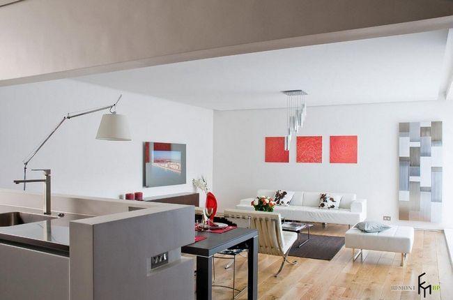 Вітальня-кухня в стилі мінімалізм