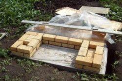 Перший ряд кладки мангала з цегли
