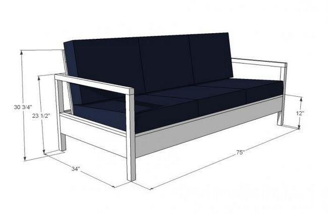 Схема розмірів дивана