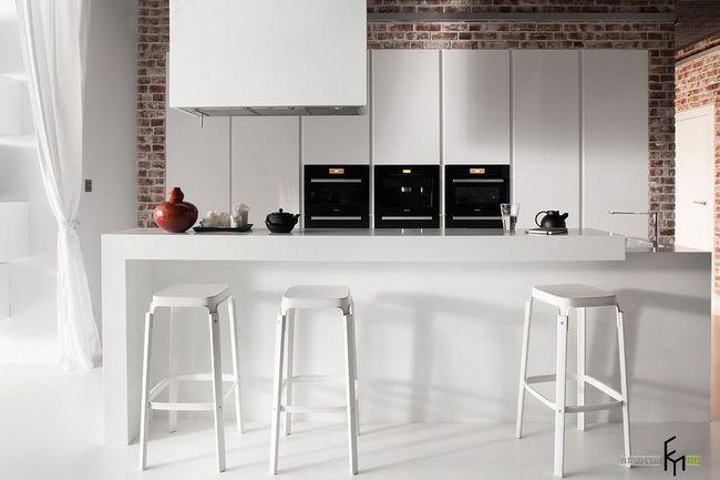 Білосніжна кухонні меблі