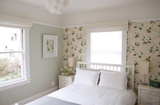 Дизайн флізелінових шпалер в спальній кімнаті