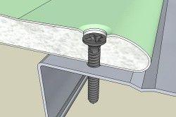 Малюнок правильного положення самореза при кріпленні гіпсокартону до профілю
