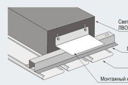Схема монтажу світильника в рейкова стеля
