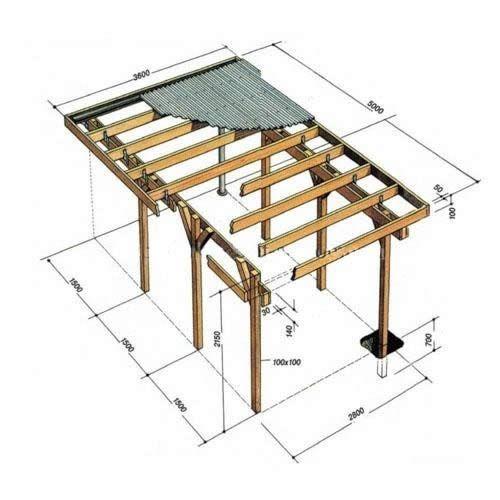 Схема деревяного навісу для авто