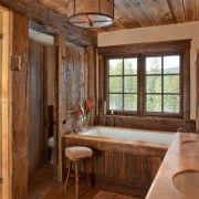 Інтерєр деревяної ванної кімнати