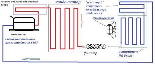 Приклад схеми агрегату холодильника