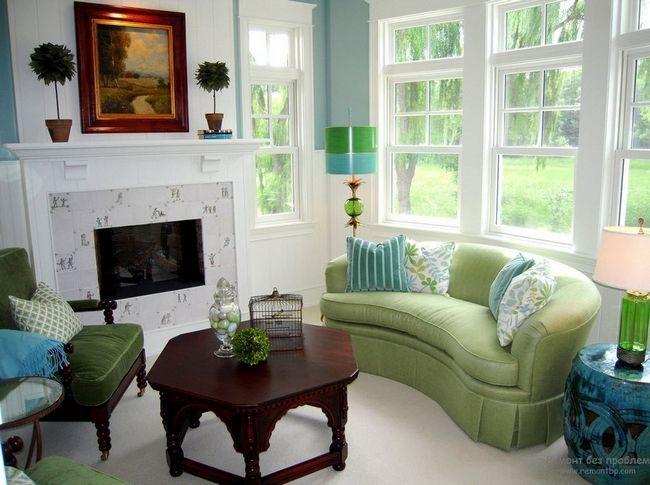 Зелений дивани торшер