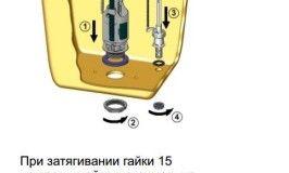 Схема установки арматури в зливний бачок