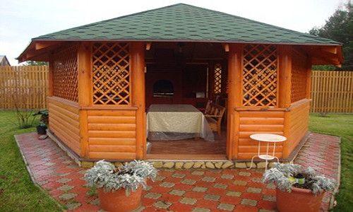 Фото - Особливості фінішної обробки стін і підлоги в дерев'яній альтанці