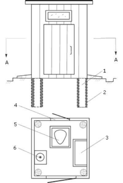 Креслення дачного туалету по типу пудр-клозет