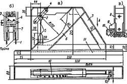 Пристрій уклономера конструкції Козловського: а - вид зверху і сбоку- б - шарнір в разрезе- в - маятник, нижня частина - 1 - пластіна- 2 - кільце- 3 - вісь для маятніка- 4 - планка для кріплення маятника 5 з покажчиком 9- 6 - напрямна для маятніка- 7 - рамка приладу- 8 - вантаж-маятнік- 10 - шкала ізмерітельная- 11 - опорна рейка