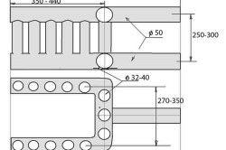 Мал. 3. Креслення теплообмінника з труб для печі з водяним опаленням