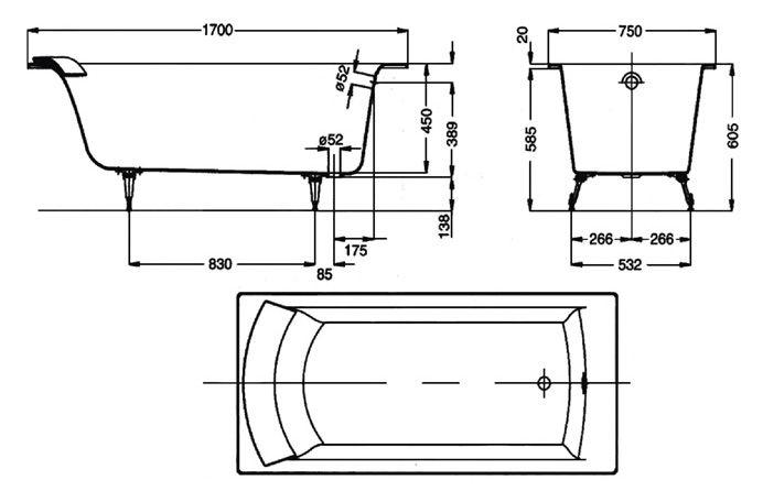 Схема чавунної ванни