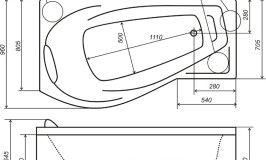 Схема чавунної ванни з гидромассажним обладнанням